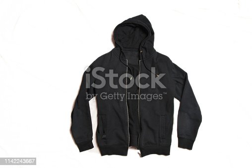 Black Hoodie Isolated on White Background. Front View of Men's Zippered Pullover Hoodies. Zip Up Fleece Hooded Sweatshirt. Full Zip Jumper with Hood. Top Warm Hoody. Long Sleeve Apparel