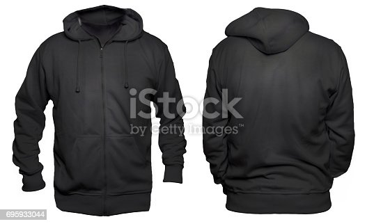 Blank sweatshirt mock up template, front, and back view, isolated on white, plain black hoodie mockup. Hoody design presentation. Jumper for print. Blank clothes sweat shirt sweater