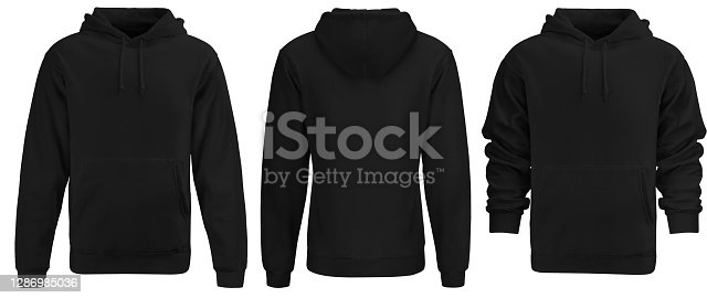 Black hoodie template. Hoodie sweatshirt long sleeve with clipping path, hoody for design mockup for print, isolated on white background. 3 sides.