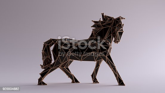 istock Black Horse made out of triangles with a Bronze Lattice Frame 925504682