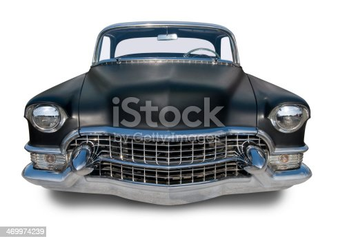 A black 1950's American hot rod. Clipping Path on vehicle.