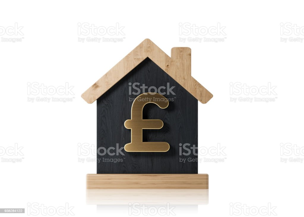 Black House Made Of Wood With Gold British Pound Symbol Real Estate