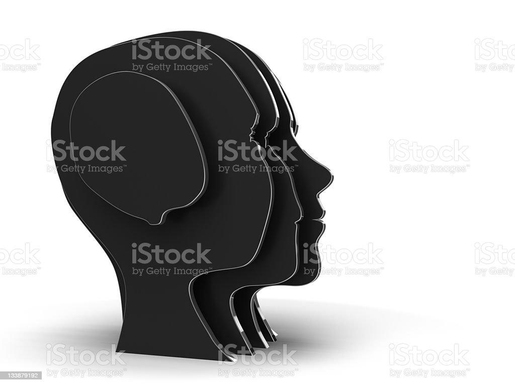 black Human head silhouettes royalty-free stock photo