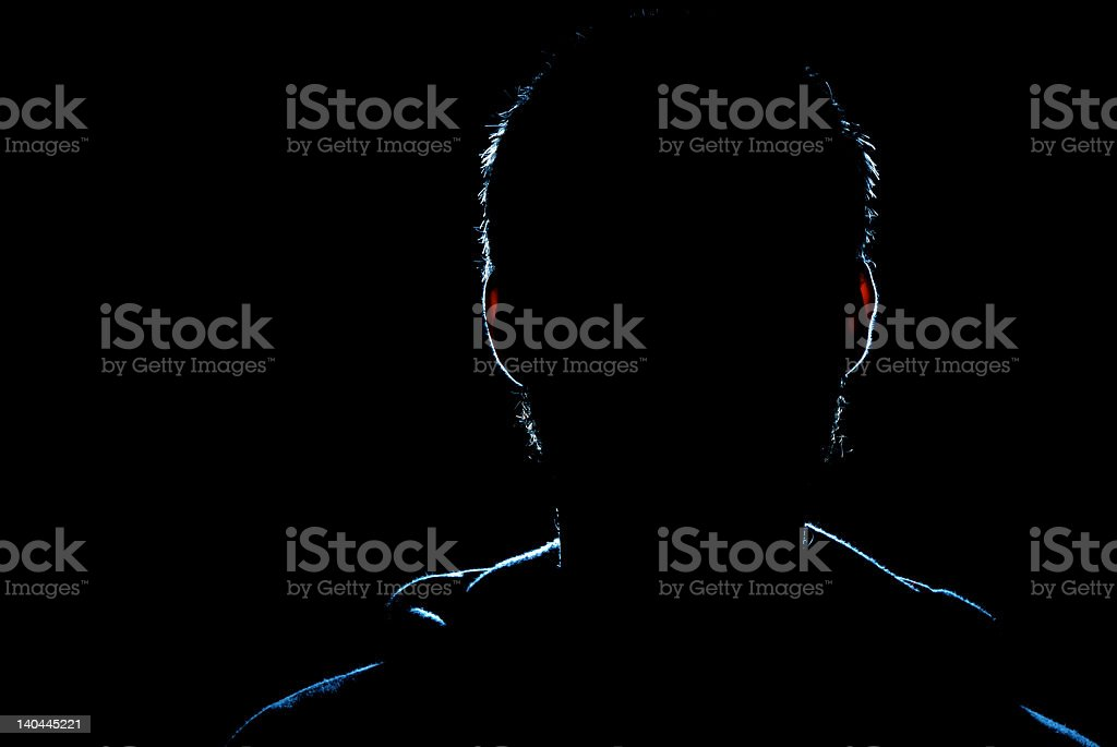 A black image of a shadow man an man his aura royalty-free stock photo
