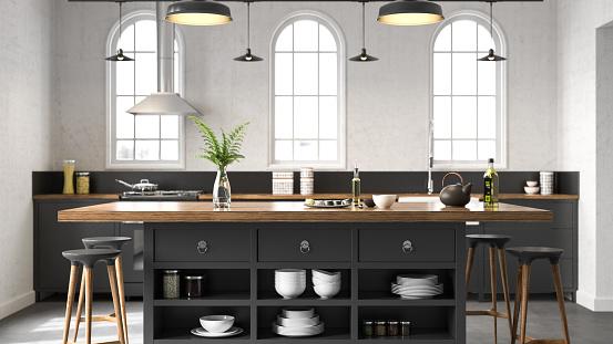 Black industrial kitchen. Render image.