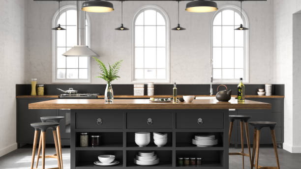 Black industrial kitchen Black industrial kitchen. Render image. modern period stock pictures, royalty-free photos & images