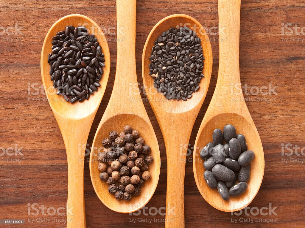 Black ingredients royalty-free stock photo