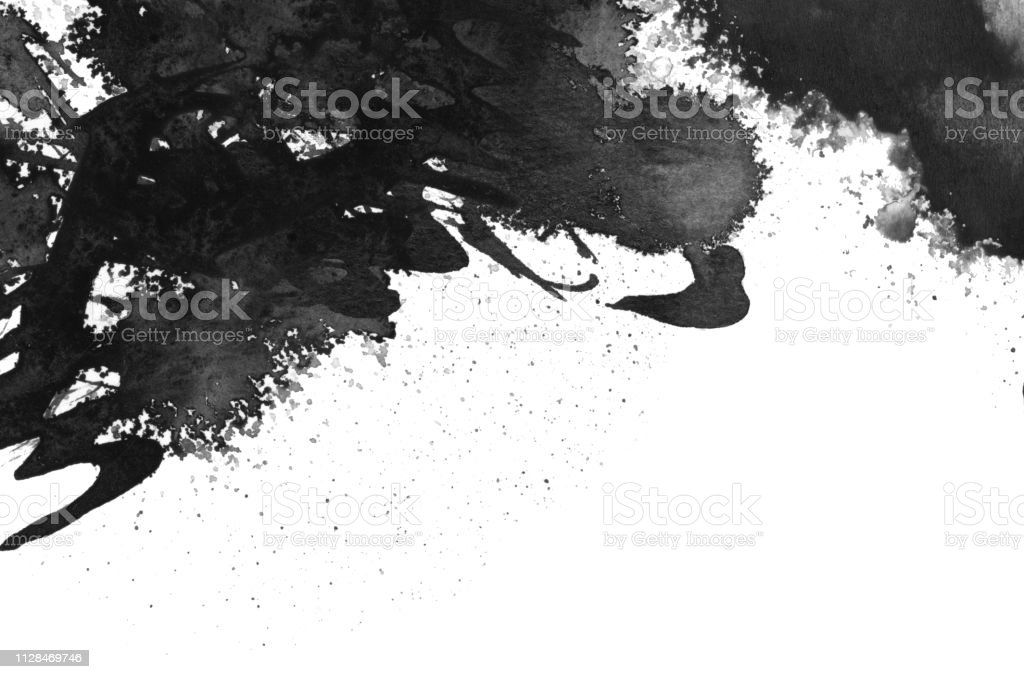 Black ink blot. Isolated on white.