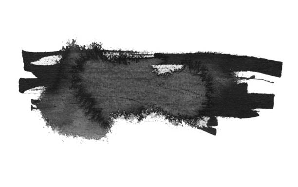 black ink blot. isolated on white. - word game stock pictures, royalty-free photos & images