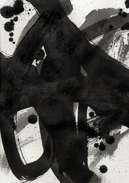 Schwarzer Tinte Pinselstrich-Optik auf weißes Papier-Hintergrund – Foto