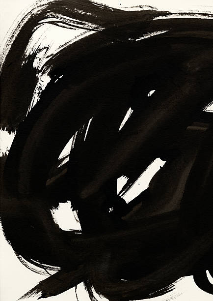 Schwarzer Tinte auf weißes Papier Pinselstrich-Optik – Foto