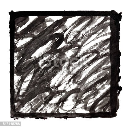 647148346 istock photo Black ink frame with doodle strokes 647148288