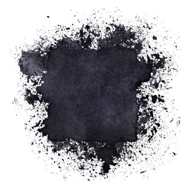 Black ink square with splashes stock photo