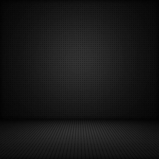 black interior background of circle mesh pattern - black background stock pictures, royalty-free photos & images