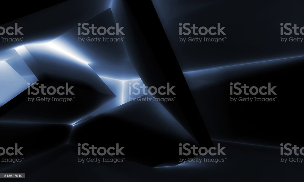Black interior design, shining cubic structures stock photo