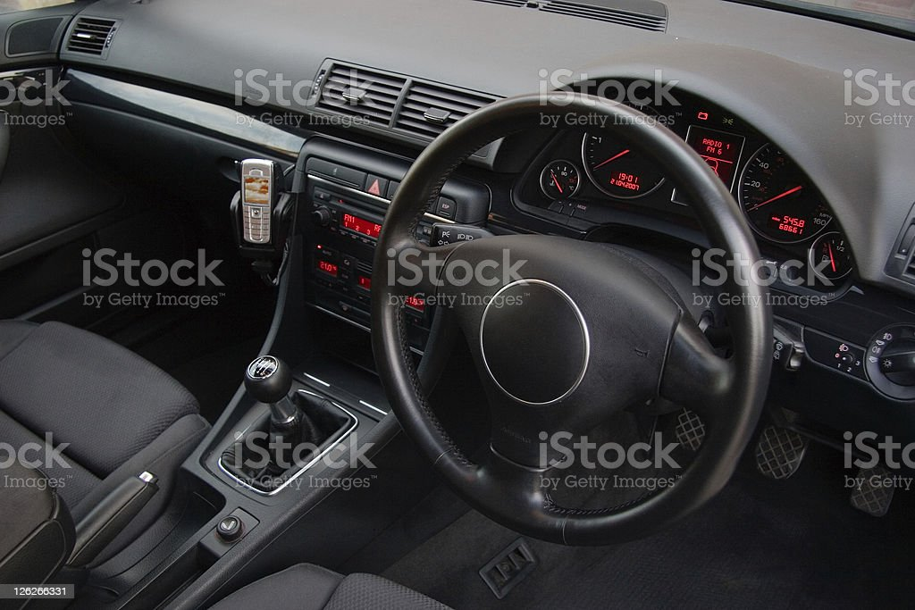Black interior in the front of german car stock photo