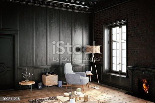 Interior with armchair, coffee table and empty wall