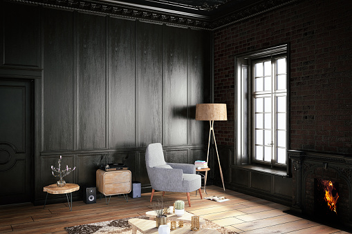 Black Interior with Armchair