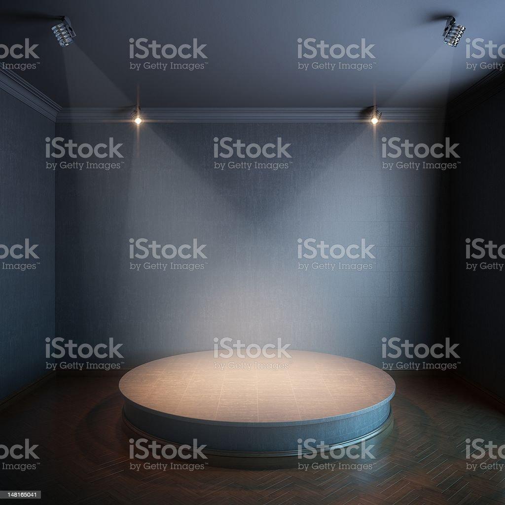 black interior with concrete podium royalty-free stock photo