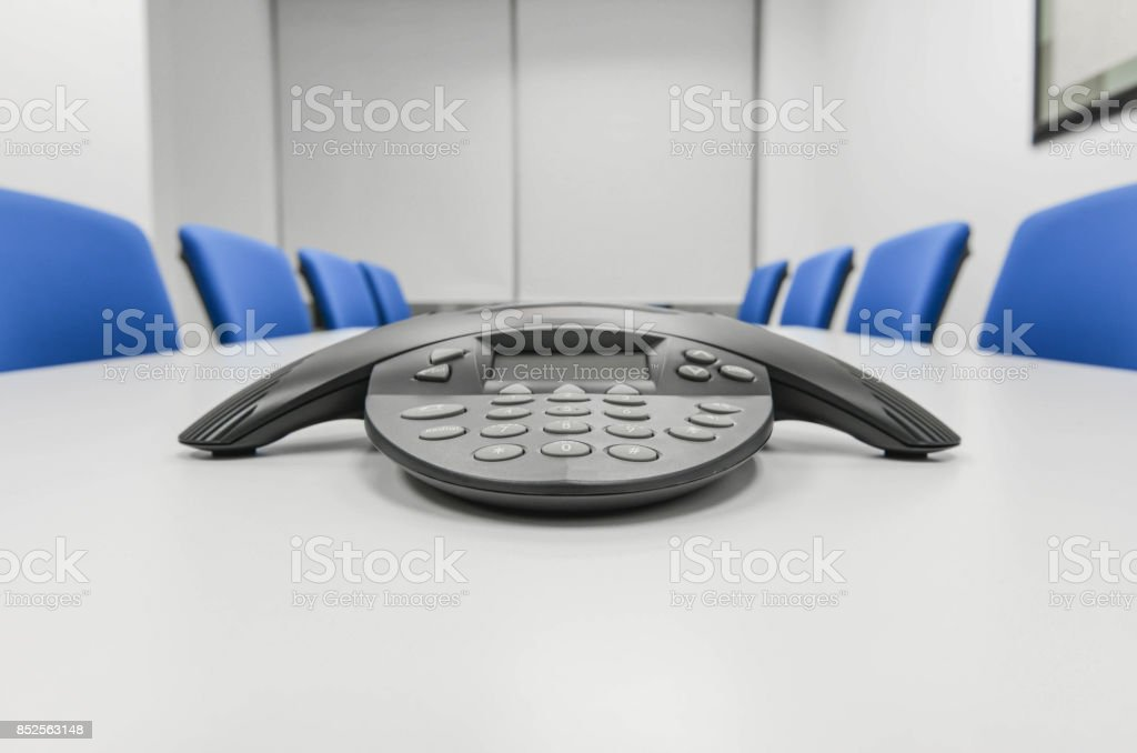 Black IP conference device the the meeting room stock photo