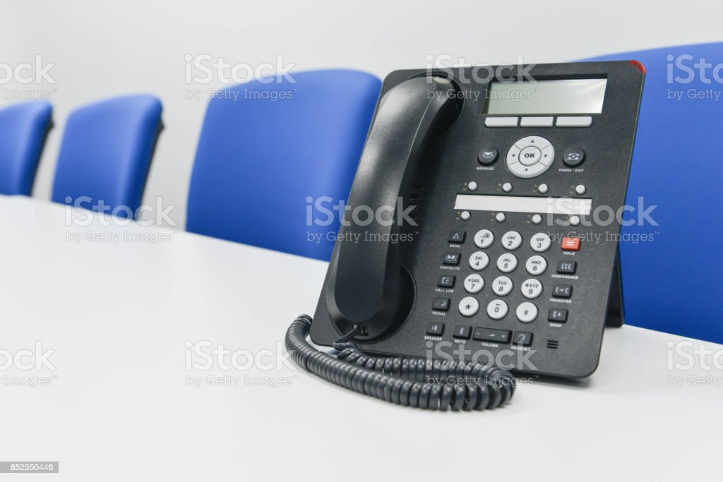 Black IP Phone in the meeting room stock photo