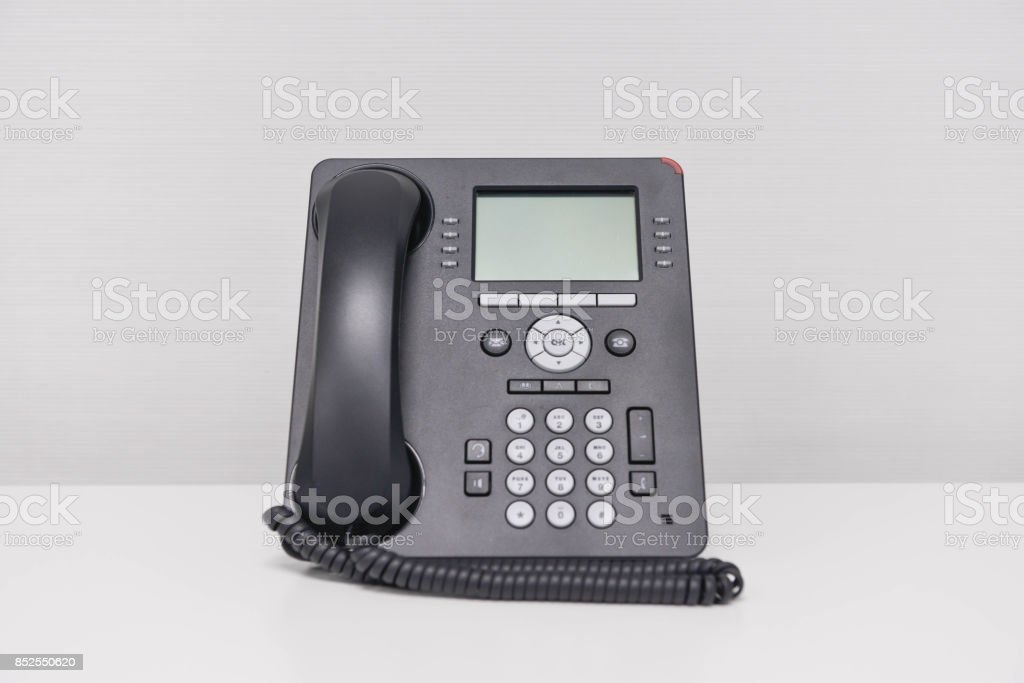 Black IP Phone on the white screen stock photo
