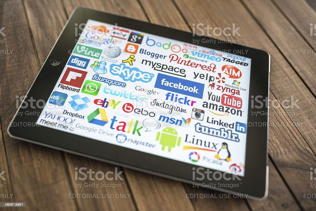 black Ipad showing the most famous website royalty-free stock photo