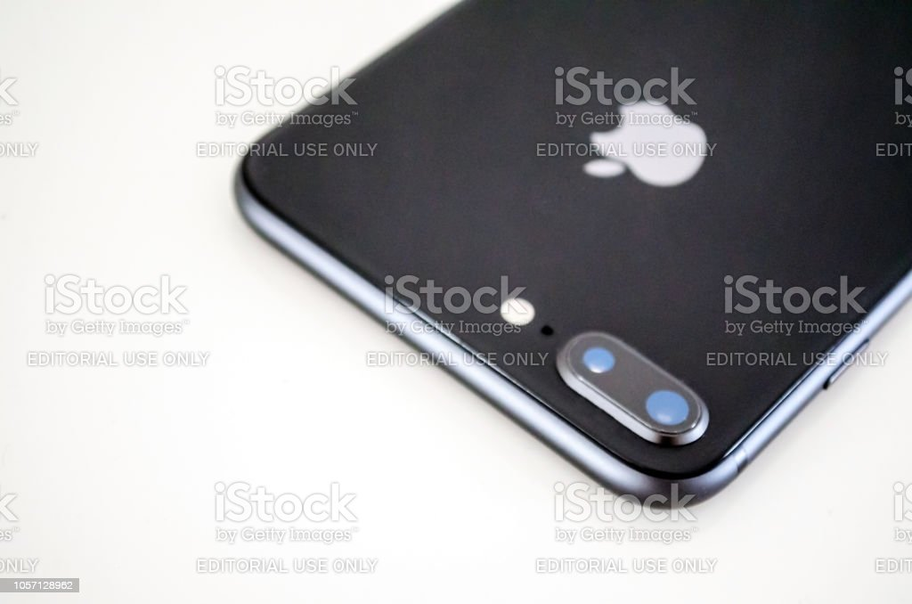 black iphone 8 plus backside and close up camera stock photo