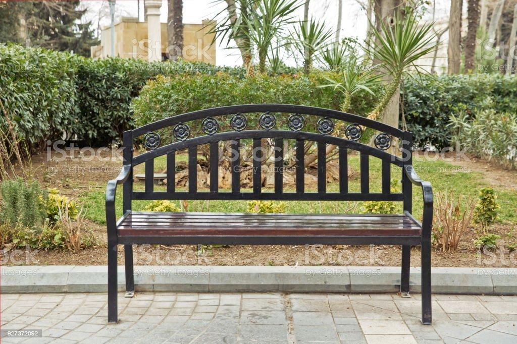 Schwarzes Eisen Stuhl Schwarze Sitzbank Auf Der Straße Bank Im Park