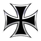 Black iron cross isolated on white