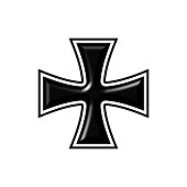 Black iron cross sign on white background. Abstract 3d illustration