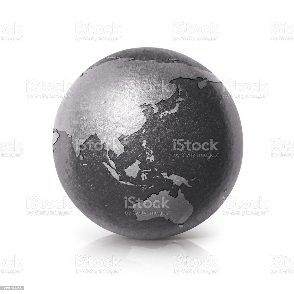 Mapa de Asia y Australia de globo hierro negro sobre fondo blanco - foto de stock