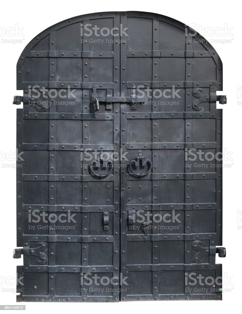 Black iron   locked gates  in medieval retro style. royalty-free stock photo