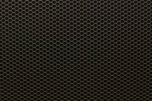 texture de Grille de haut-parleur de fer noir, motif sans couture. - Photo