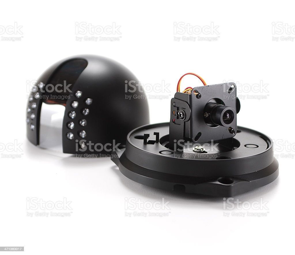 Black isolated video surveillance camera stock photo