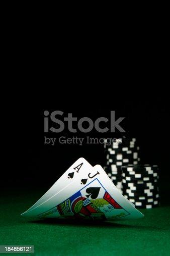 Black Jack with Poker Chips.