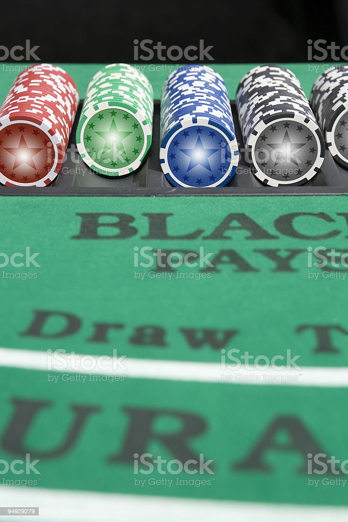 Black Jack table with tokens royalty-free stock photo