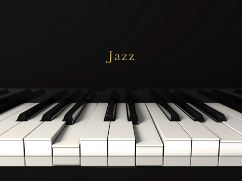 Black jazz piano. Front view