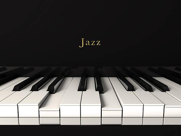 Noir morceau de jazz joué au piano.  Vue de face - Photo