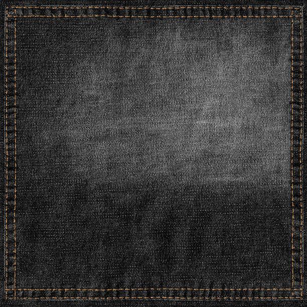black jeans grunge background with stitched frame - zwarte spijkerbroek stockfoto's en -beelden