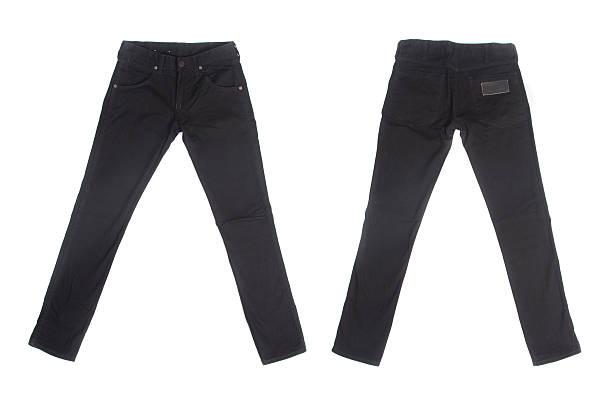 black jeans isolated on white background - zwarte spijkerbroek stockfoto's en -beelden