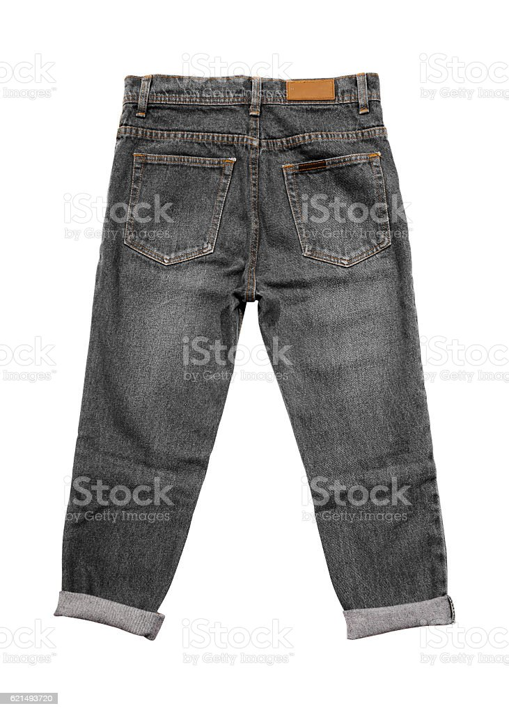 Black Jeans Isolated (back) with clipping path Lizenzfreies stock-foto