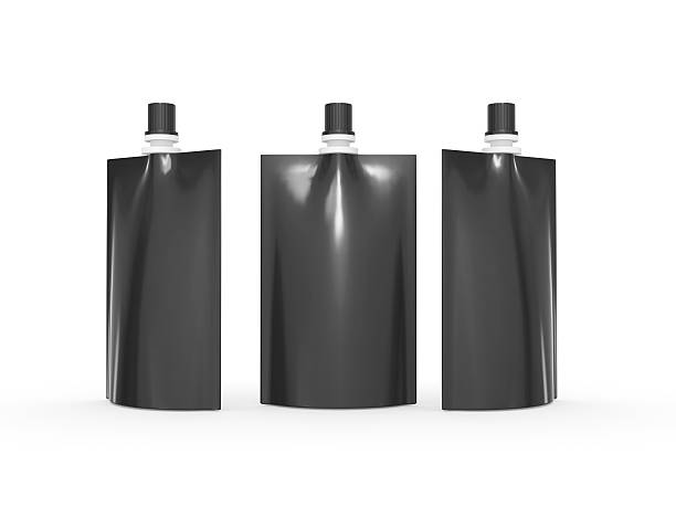 Black  juice  bag packaging with cap and clipping path stock photo