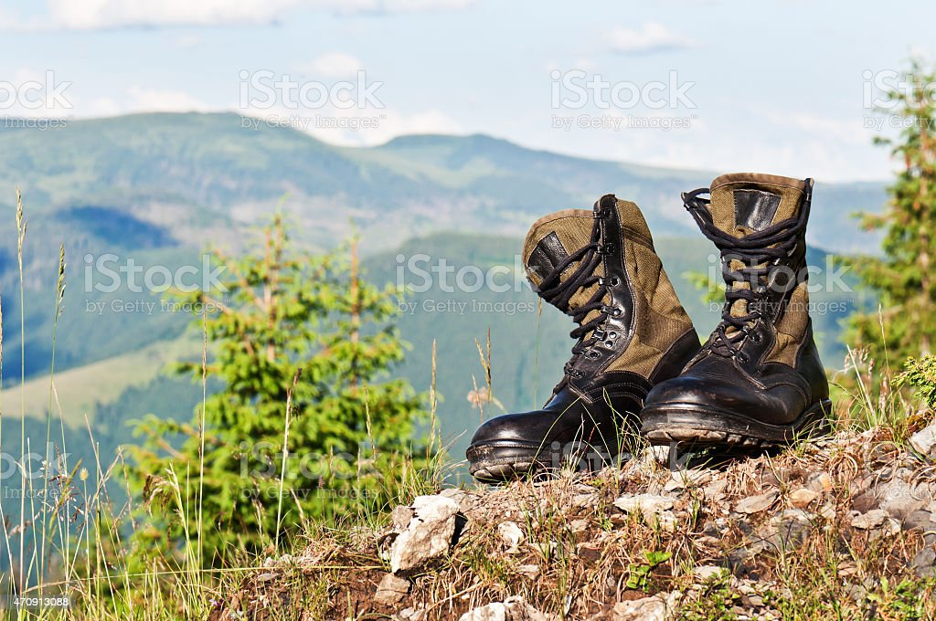 black jungle boots stock photo