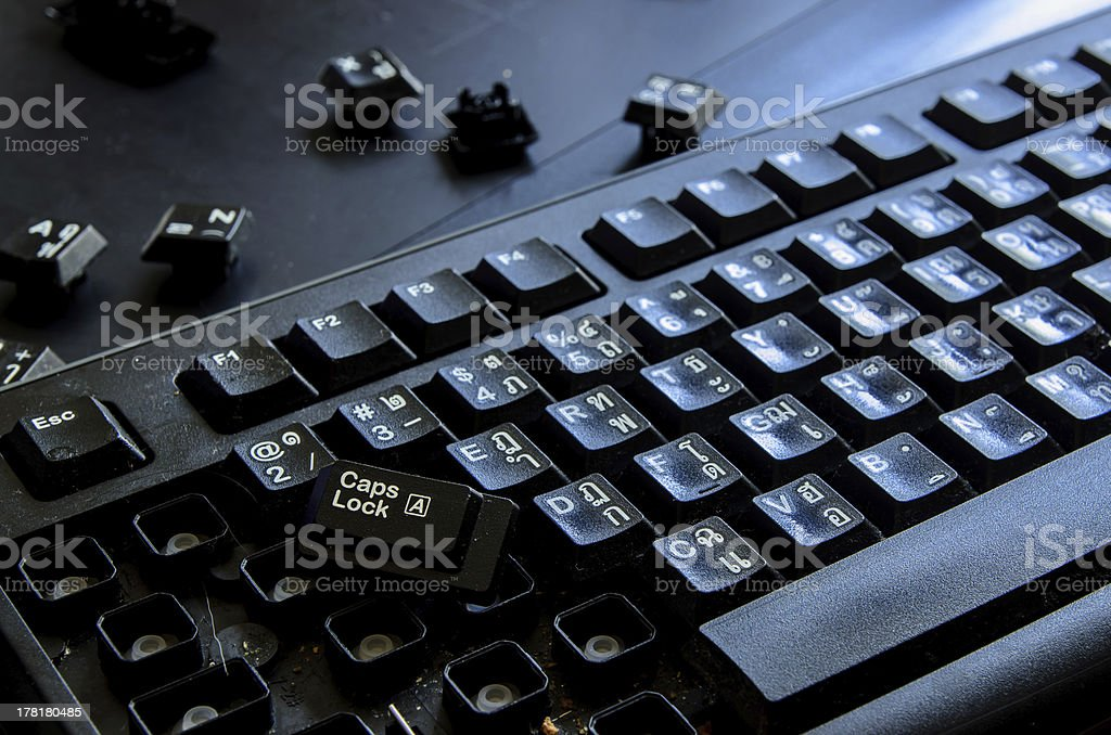 black keyboard  crush and dirty royalty-free stock photo