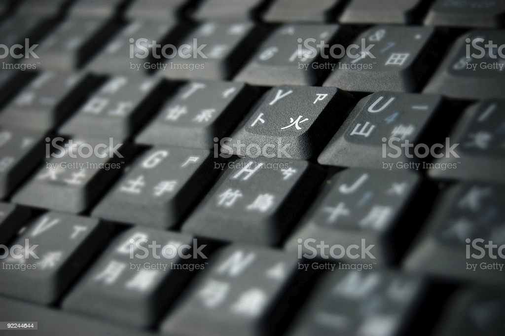 Black Keyboard with Chinese input method symbols royalty-free stock photo