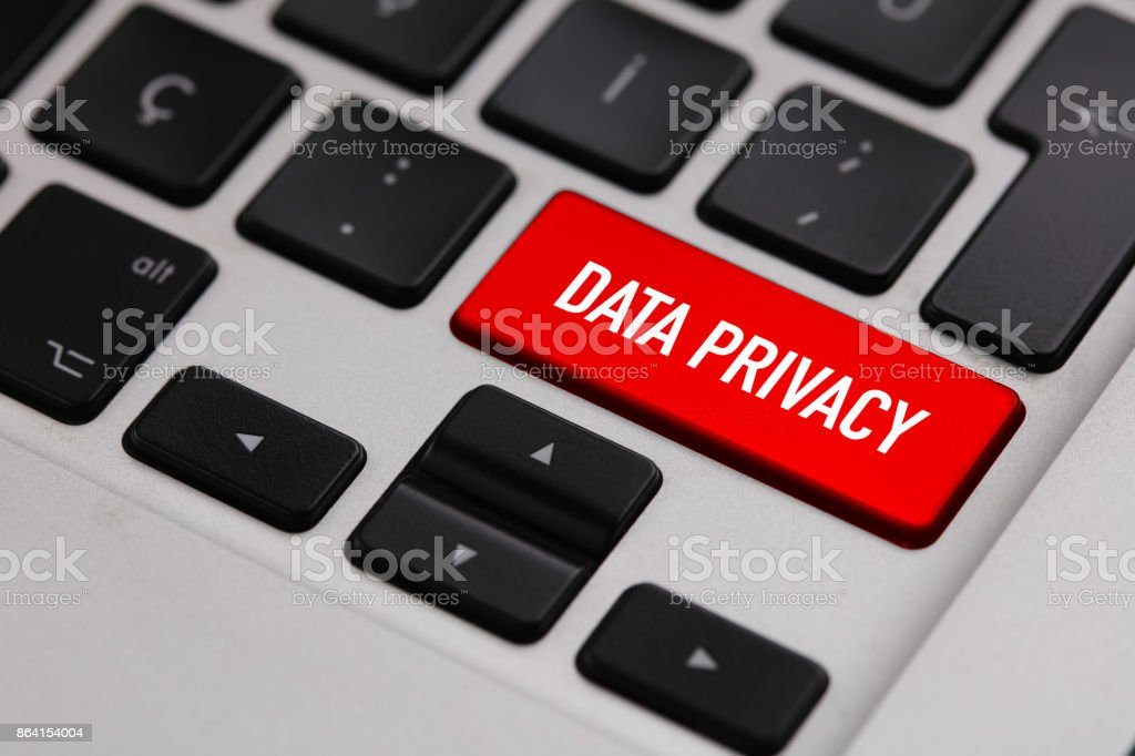 Black keyboard with DATA PRIVACY button royalty-free stock photo