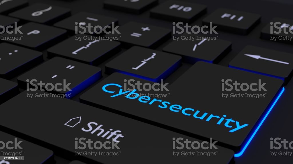 Black Keyboard With Glowing Cybersecurity Enter Key Stock Photo & More  Pictures of Back