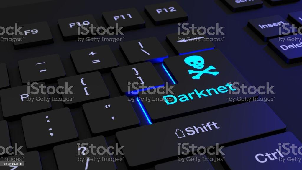 Black Keyboard With Glowing Darknet Enter Key Stock Photo - Download