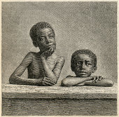 """""""19th century engrave about two pensive african kids.Original paper texture, easy to isolated sellecting by colours.No copyrights allowed, scan by Juan Mora. More like this in my portfolio!"""""""